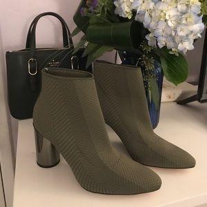 Zara green booties with metallic heel